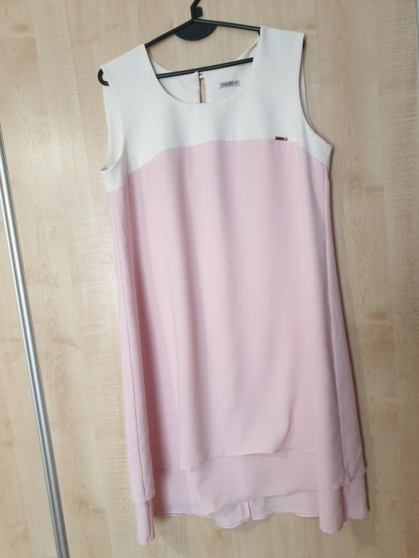 Suknie i sukienki Sukienka trapezowa oversize pudrowy róż