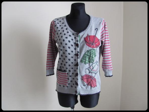 Ciekawy kardigan sweter wzorzysty 40 L per una