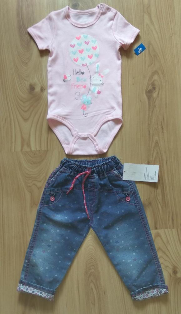 Nowe jasno różowe body i spodnie jeansowe 92
