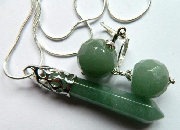 Oliwkowy jadeit piękny zestaw biżuterii