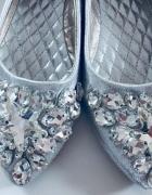 Baleriny 38 j nowe srebrne kamienie dzety...