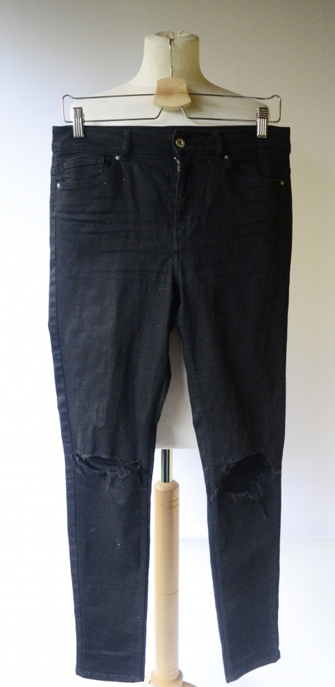 Spodnie Czarne H&M Divided L 40 Rurki Dziury Na Kolanach...