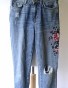 Spodnie H&M XS 34 Haft Hafty Dzinsowe Jeansowe Jeans...