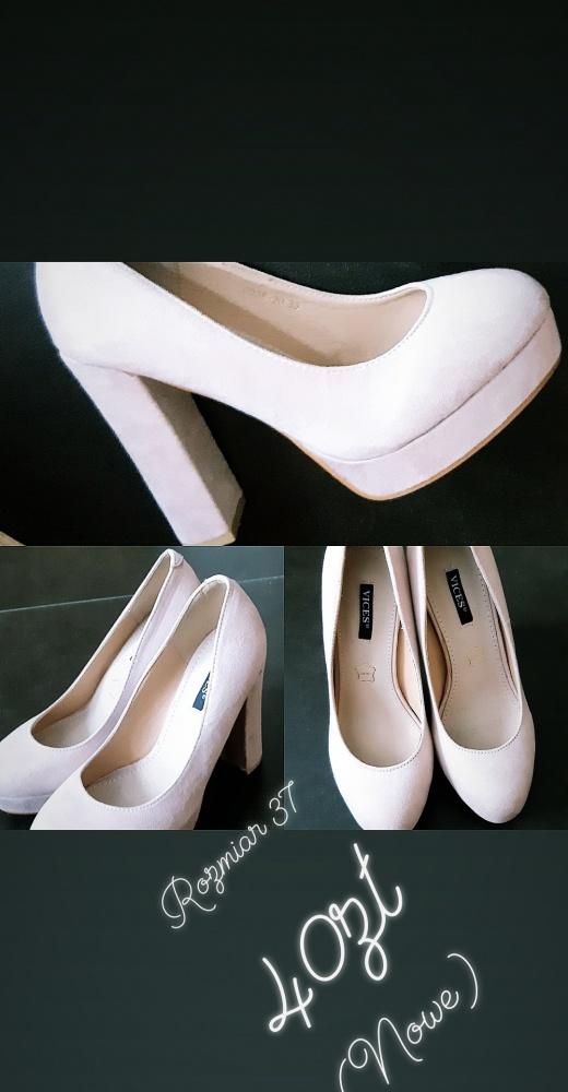 Pudrowe buty na słulku...