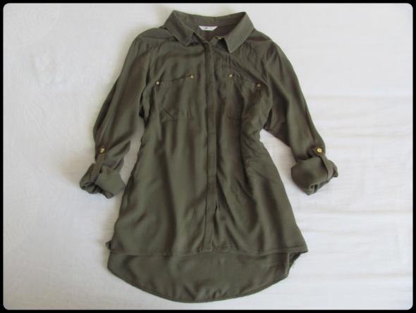 Koszula khaki oliwkowa rozmiar 38 podwijane rękawy 38 M