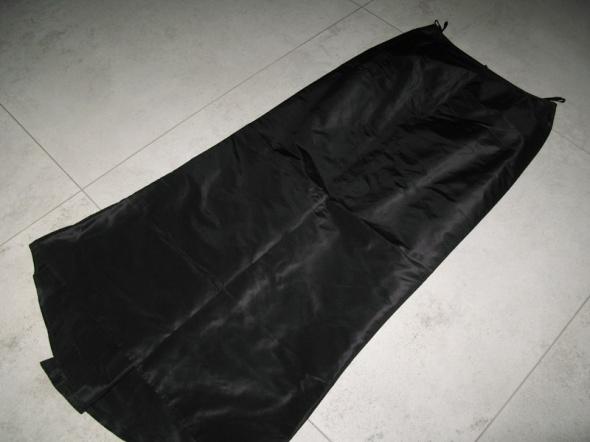 ELEGANCE czarna długa spódnica z trenem jedwab roz 36