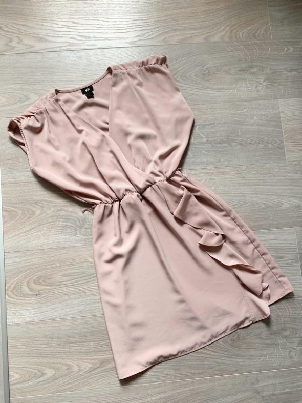 H&M sukienka pudrowy róż letnia asymetryczna xs...