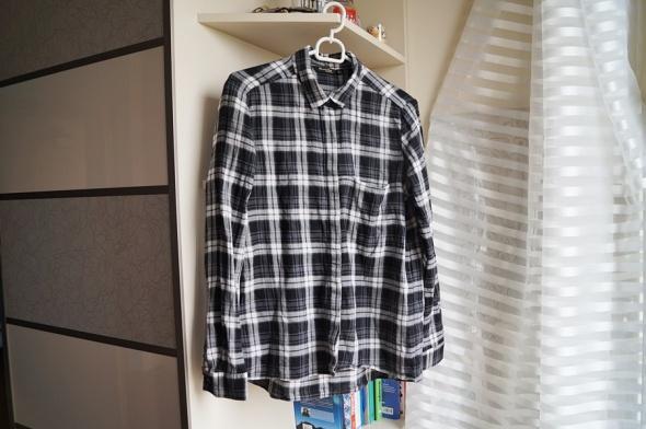 Czarno biała koszula w kratę Massimo Dutti M