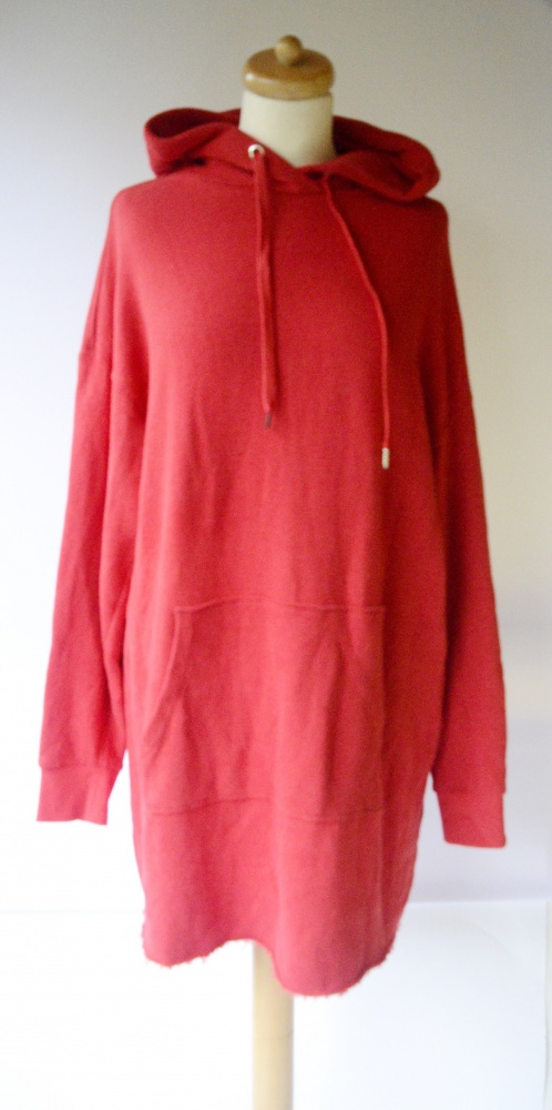 Bluza Czerwona Kangurka H&M Sukienka L 40 Tunika Long