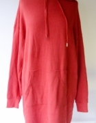 Bluza Czerwona Kangurka H&M Sukienka L 40 Tunika Long...