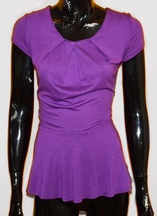 bluzka L XL fioletowa z baskinką