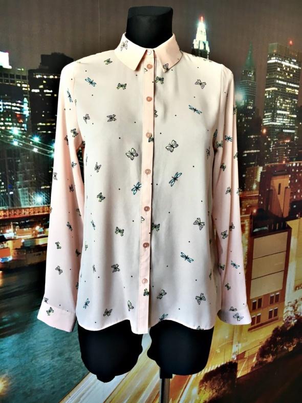 primark koszula mgiełka modny wzór motyle motylki nowa 36 S