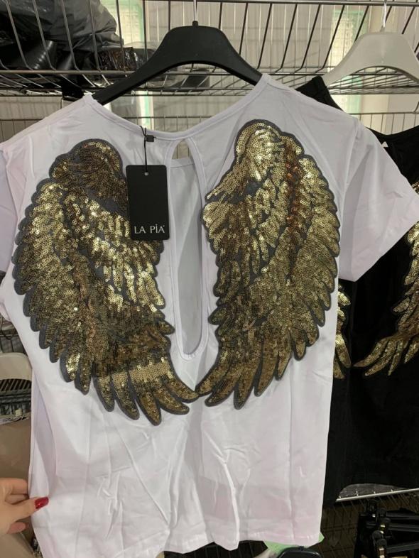 Bluzeczka biała skrzydła cekiny z wycięciem...