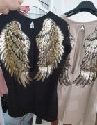 Bluzeczka skrzydła cekiny czarna piękne plecy...