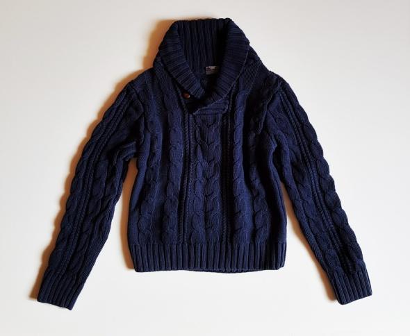 H&M sweterek w warkocze bawełniany dla chłopca rozm 134 140