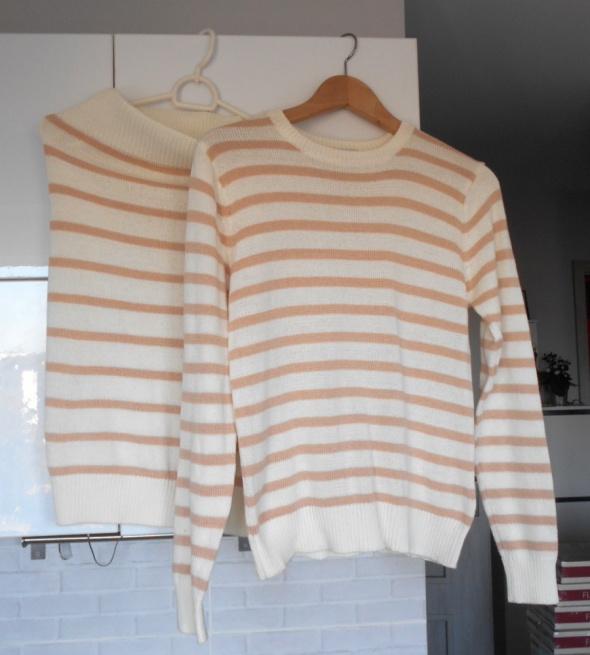 Nelly nowy komplet sweter spódnica dzianina nude paski kremowe