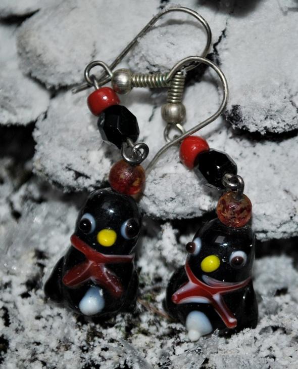 Zabawne Kolczyki Pingwinki Pingwiny z Madagaskaru Szklane Koraliki Święta Prezent Handmade