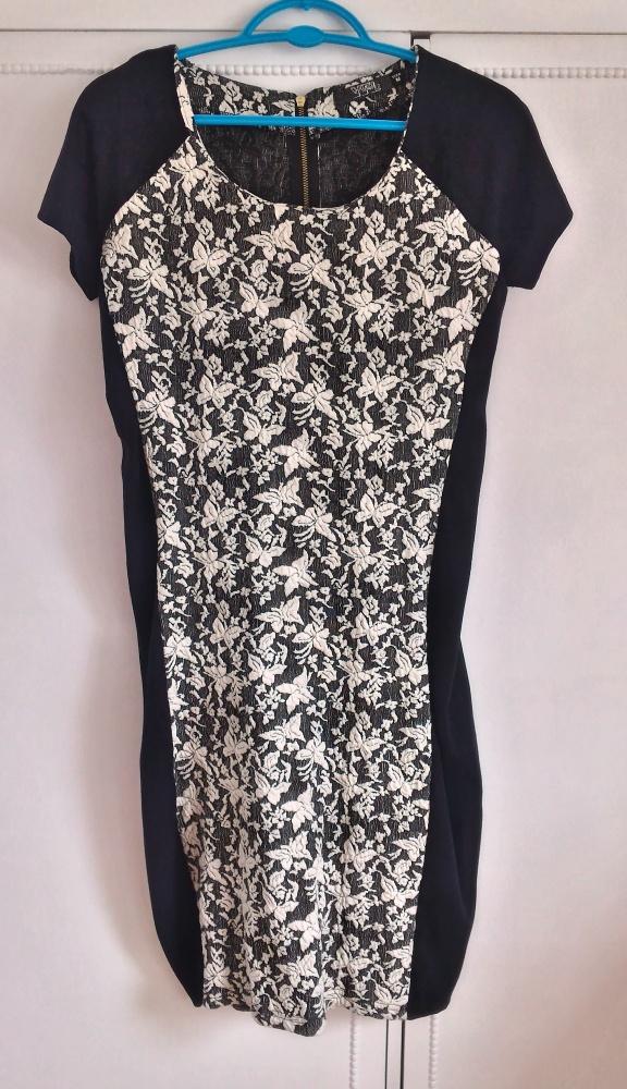 Nowa sukienka RESERVED czarna biały wzór floral M
