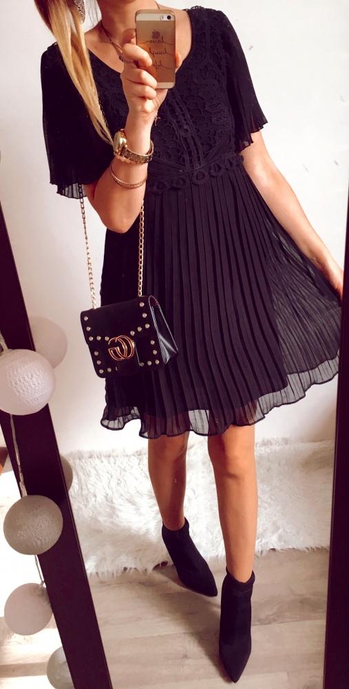 Sukienka Damska plisowana koronka elegancka czarna M
