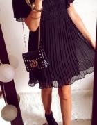 Sukienka Damska plisowana koronka elegancka czarna M...
