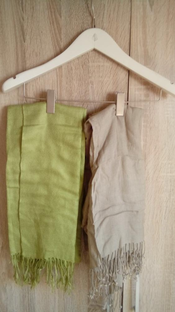 chusta paszmina jedwab kaszmir nude zielony H&M