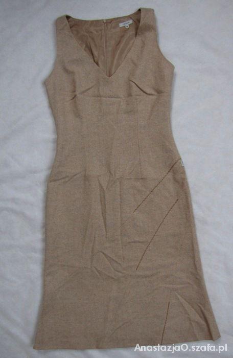 TATUUM sukienka beżowy melanż wełna S...