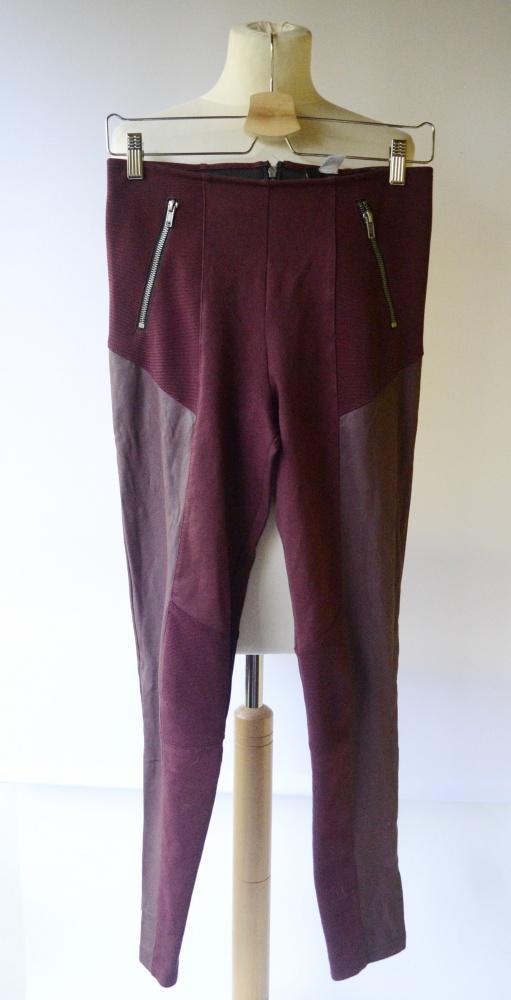 Tregginsy Spodnie Bodowe H&M M 38 Eko Wstawki Skórzane Bordo...