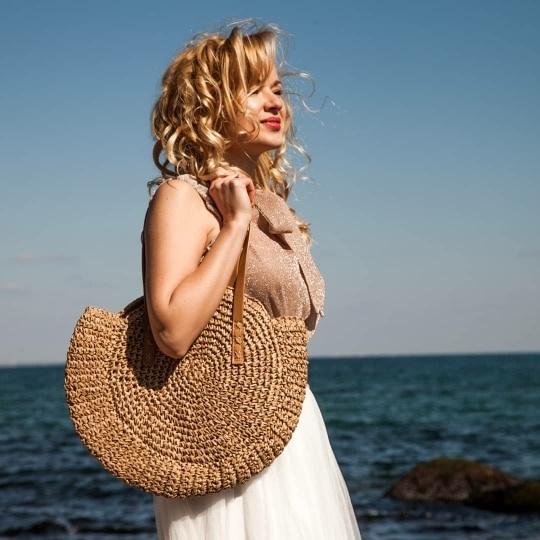Torebka torba wiklinowa duża xxl na plażę na ramię