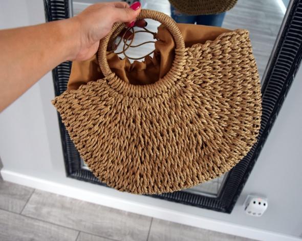 Torebka na lato koszyk mini pleciona słomiana