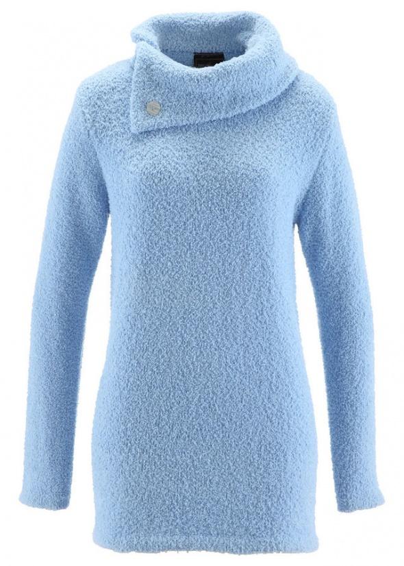 Swetry Błękitny sweter z asymetrycznym golfem