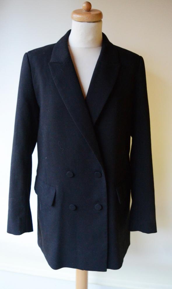 Marynarki i żakiety Marynarka Czarna H&M L 40 Płaszcz Long Elegancka