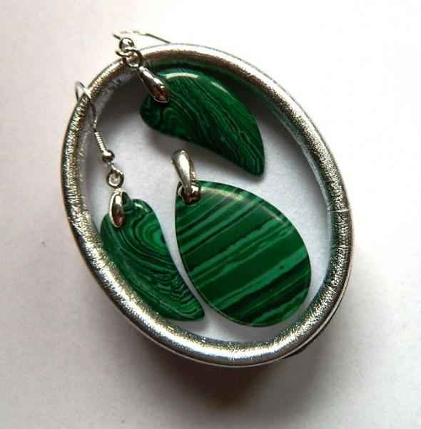 Zielony malachit i srebro delikatny zestaw biżuterii...
