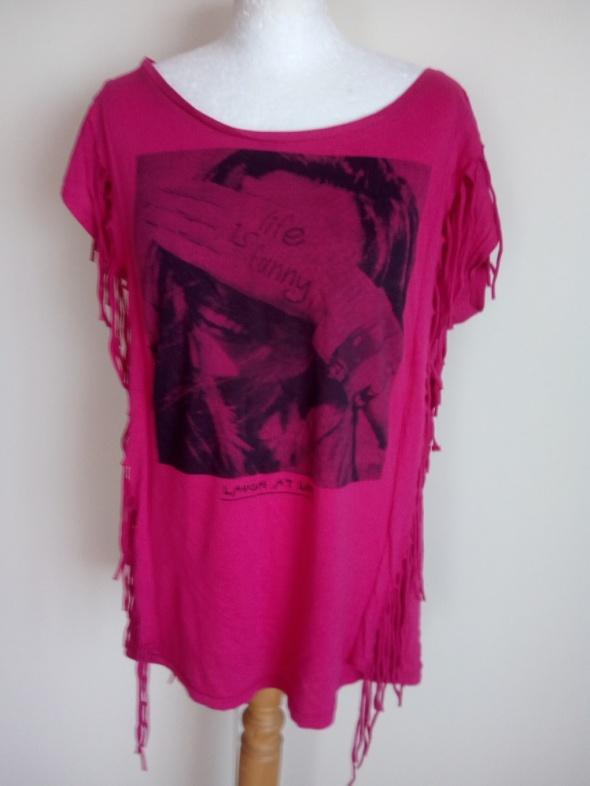 Różowa tunika bluzeczka z fędzlami