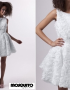 mosquito biała sukienka rozkloszowana kwiaty 3d róże...