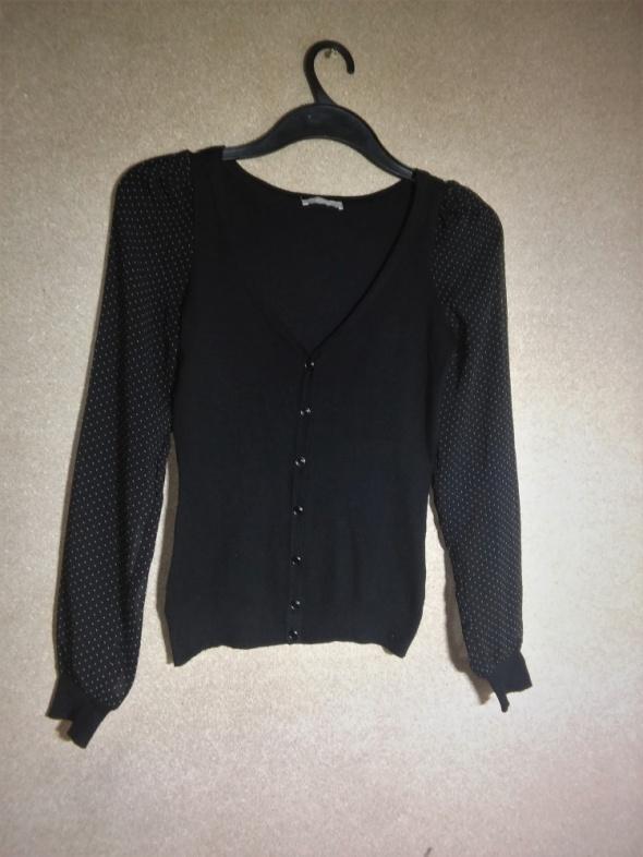 Czarny rozpinany sweter rękawy mgiełka 36 Orsay...