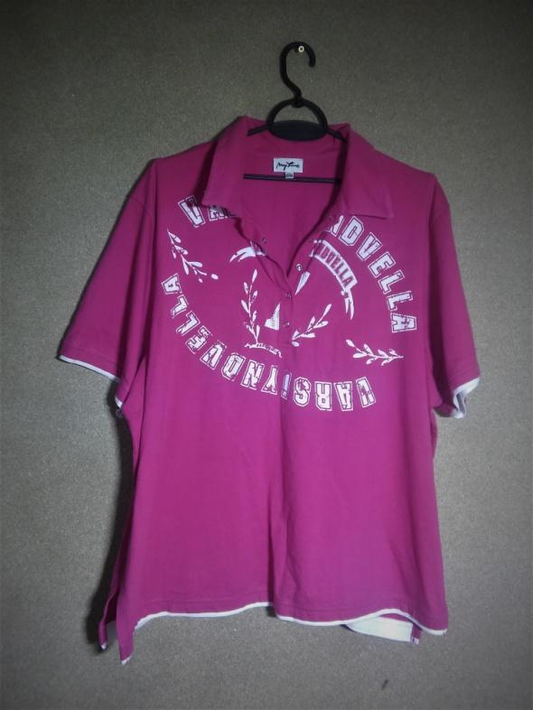 Różowa bawełniana bluzka z kołnierzykiem 52 54