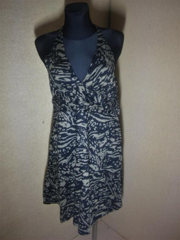 Czarno brązowa letnia sukienka na szyję 38 40