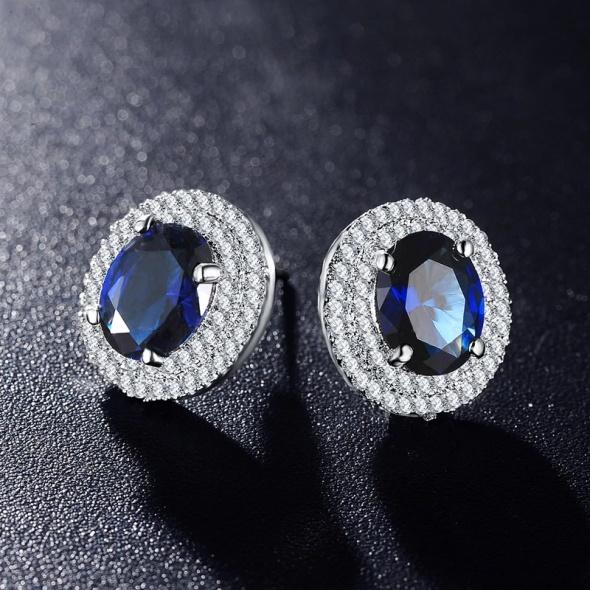 Nowe kolczyki platynowane srebrny kolor niebieska cyrkonia eleganckie retro