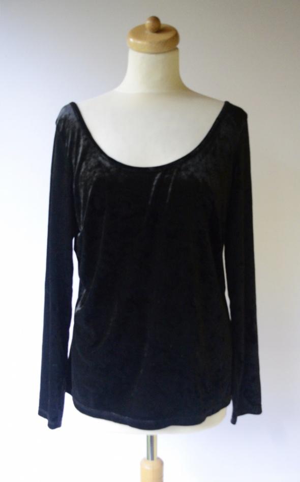 Bluzka Welurowa Czarna H&M Plus L 40 Odkryte Plecy Welur...