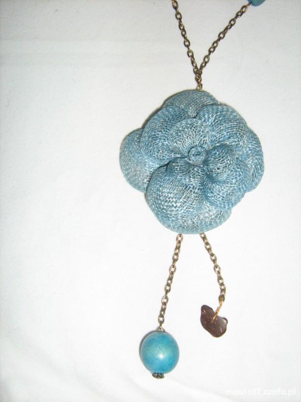 naszyjnik wisiorek kwiat turkus