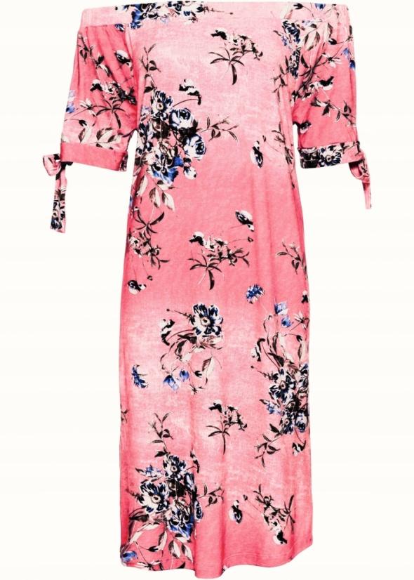 Różowa pastelowa sukienka w kwiaty 38 lub 40