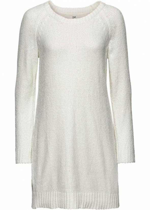 Biała prosta sukienka z szenilii r 42