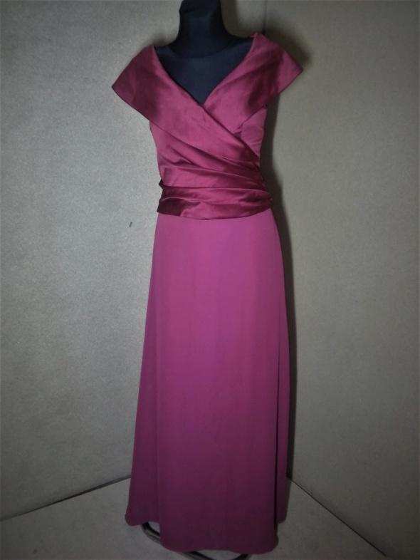 Bordowa maxi suknia szyfonowa satynowa balowa 36