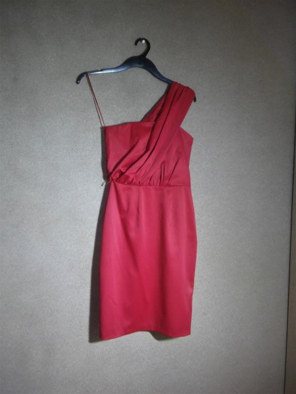 Czerwona elegancka sukienka ołówkowa midi 36