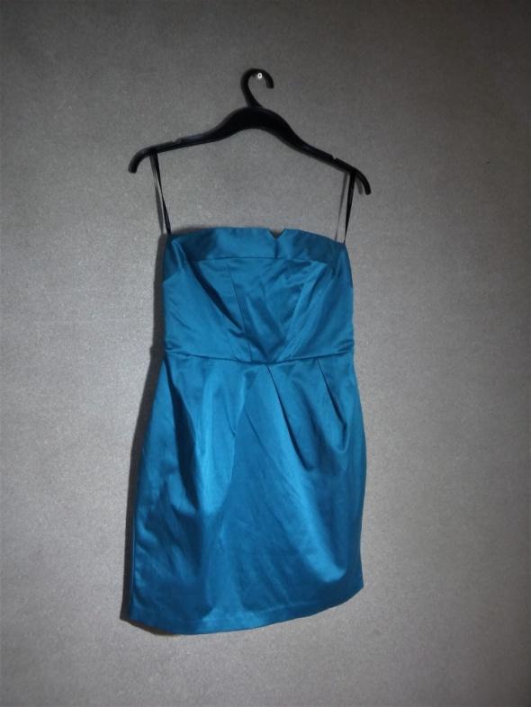Zielona ołówkowa sukienka midi bez ramiączek 42 A