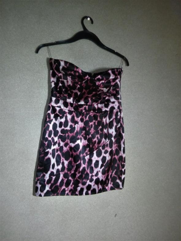 LIPSY sukienka ołówkowa panterka bez ramiączek 38