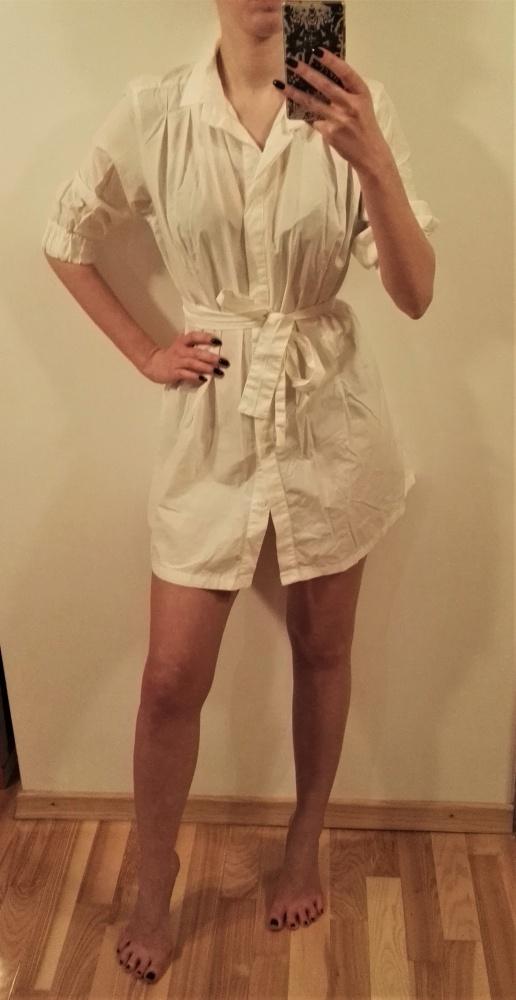 Zara biała sukienka tunika koszulowa 38 M...