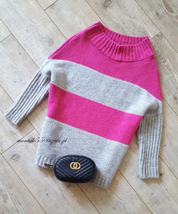 Różowy szary sweterek oversize GOLF...