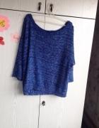 Niebieski melanżowych sweterek nietoperz...