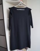 Czarna sukienka z surowym wykończeniem Amisu S...